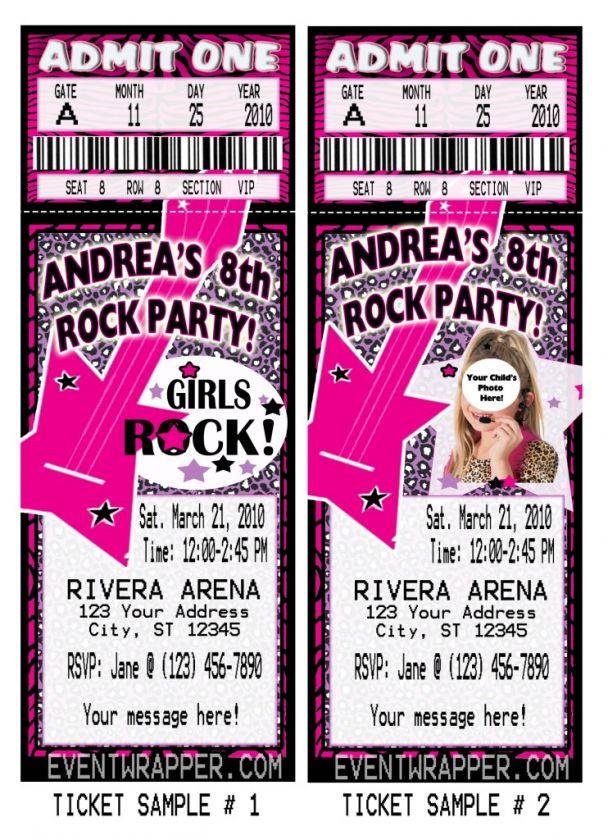 Rock Star Diva Birthday Invitations Vip Pass Favors