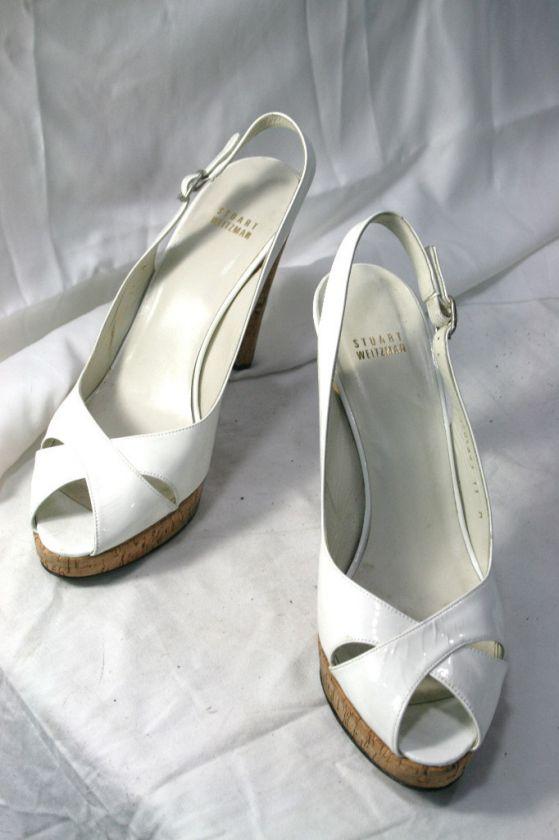 Stuart Weitzman Heels Womens cream white shoes lace leather used 11