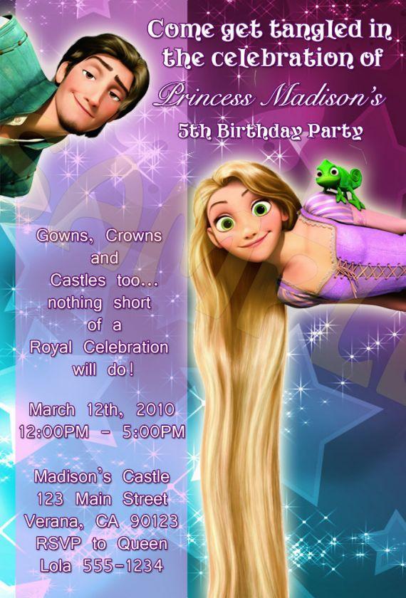 Disney Tangled   Rapunzel Birthday Party Invitations
