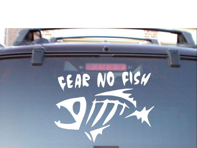 FEAR NO FISH VINYL CAR BOAT DECAL STICKER LARGE BASS