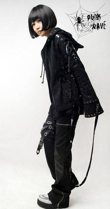 visual kei punk gothic lolita rock fashion bat printed top jacket with