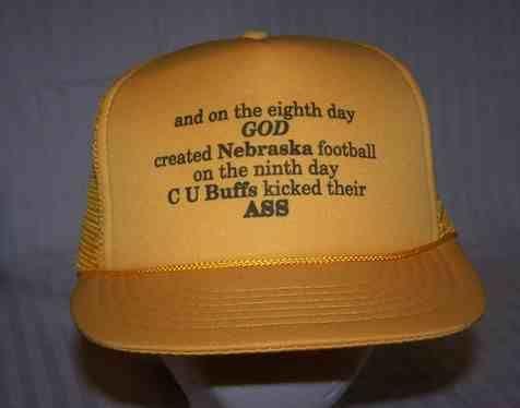 TRUCKER HAT * BASEBALL CAP * Comic CU BUFFS beat NEBRASKA *